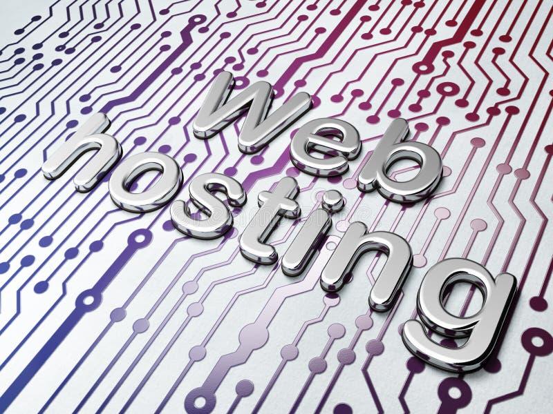 Sieć projekta pojęcie: Złoty web hosting na obwód deski tle obraz stock