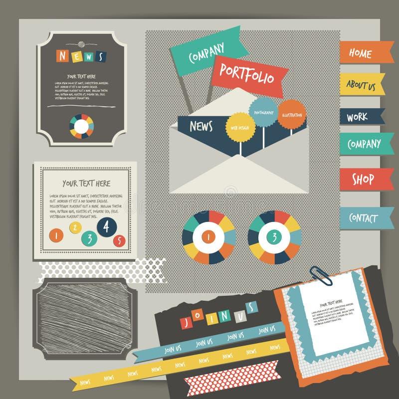 Sieć projekta rocznika portfolio elementy Kolekcja kolorów majchery, mowa gulgocze, wiadomość tekstowa, ikony, ręka rysująca kszt ilustracji