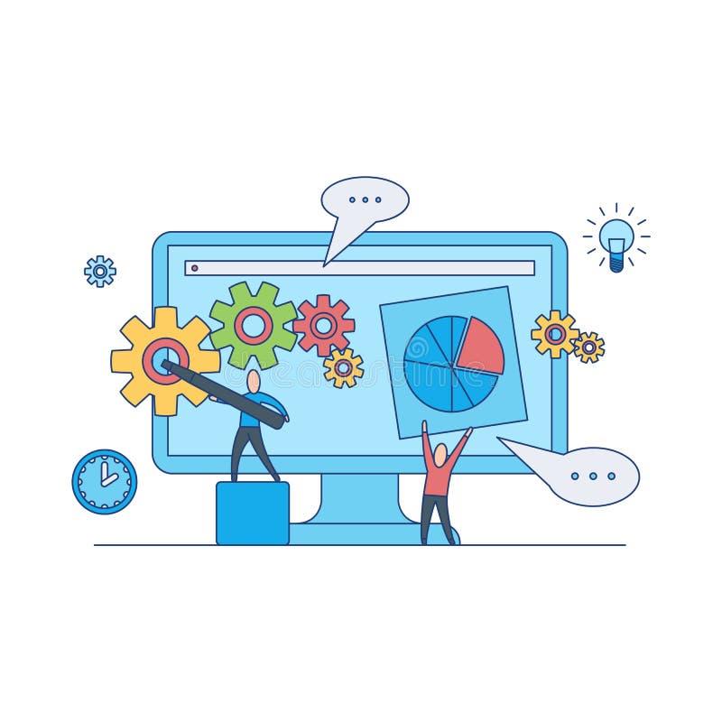 Sieć projekta rozwoju pojęcie z pracą zespołową na tworzyć układu i plombowania miejsca stronę ilustracja wektor