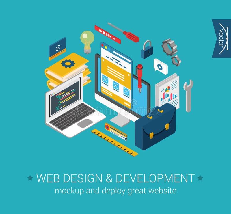 Sieć projekta rozwoju programowania cyfrowania mockup płaski 3d pojęcie ilustracji