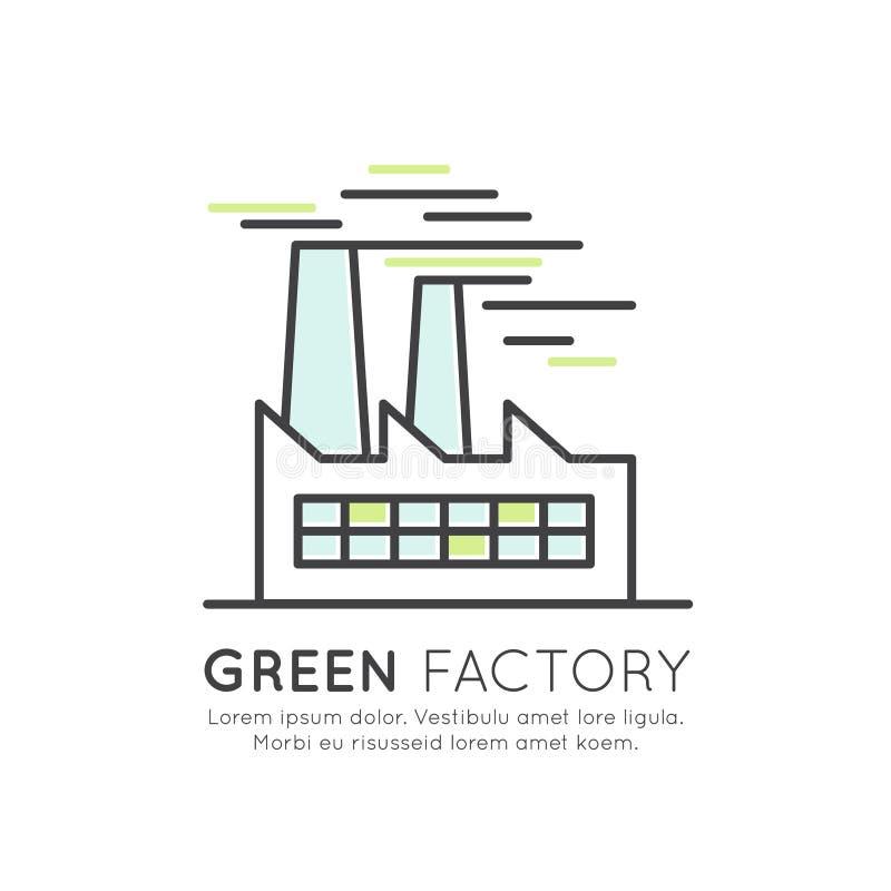 Sieć projekta szablon z cienkimi kreskowymi ikonami środowisko, energia odnawialna, podtrzymywalna technologia, przetwarza, ekolo ilustracja wektor