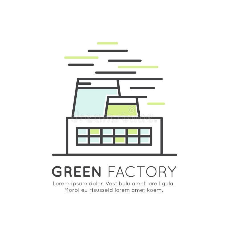 Sieć projekta szablon z cienkimi kreskowymi ikonami środowisko, energia odnawialna, podtrzymywalna technologia, przetwarza, ekolo royalty ilustracja