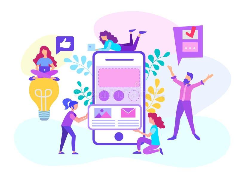 Sieć projektanci pracują na rozwoju mobilnego zastosowanie royalty ilustracja