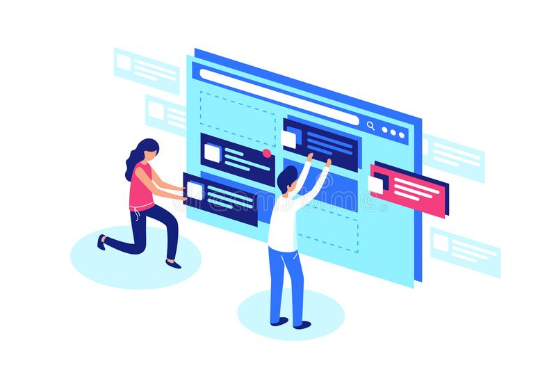 Sieć projektantów drużyna tworzy strony internetowej strony projekt ilustracja wektor