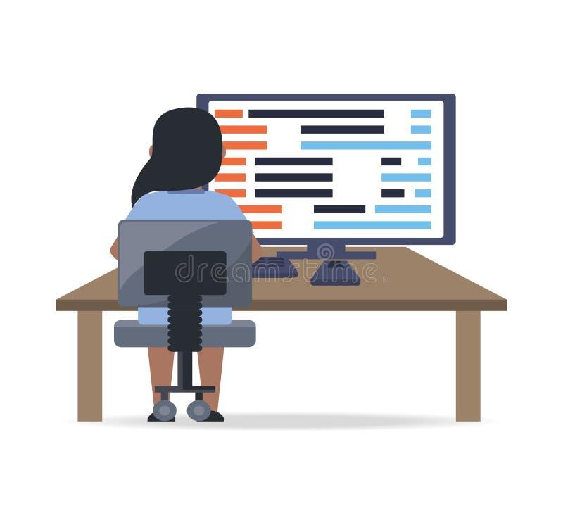 Sieć przedsiębiorca budowlany pracuje na komputerowego programowania cyfrowaniu royalty ilustracja