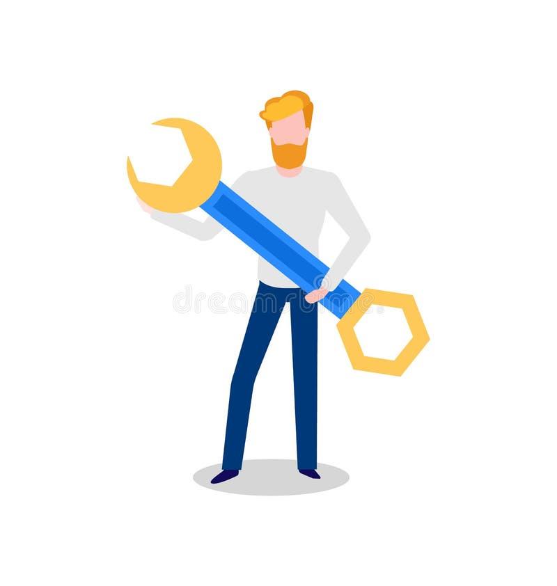 Sieć przedsiębiorca budowlany, programisty mienia instrumentu narzędzie ilustracja wektor