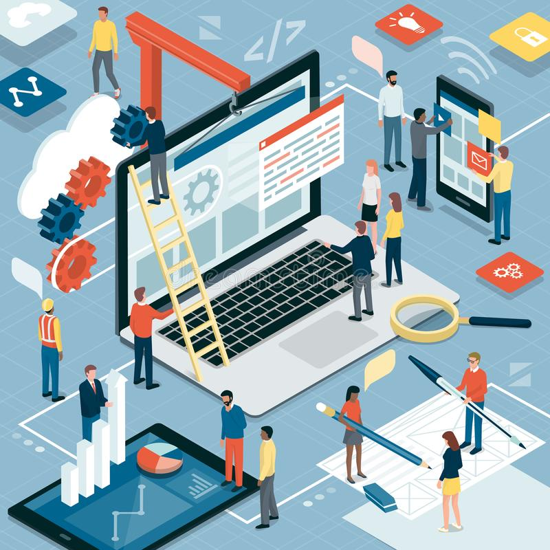 Sieć rozwój, graficzny projekt i marketing, ilustracji