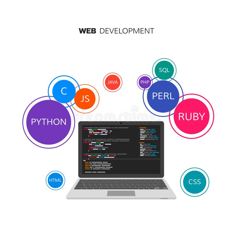 Sieć rozwój infographic Programowania i cyfrowania pojęcie również zwrócić corel ilustracji wektora ilustracja wektor
