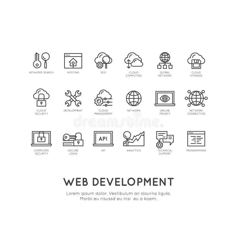 Sieć rozwój, programowanie, usługi sieciowe, ochrona, Online zastosowanie, Obłoczny Obliczać royalty ilustracja