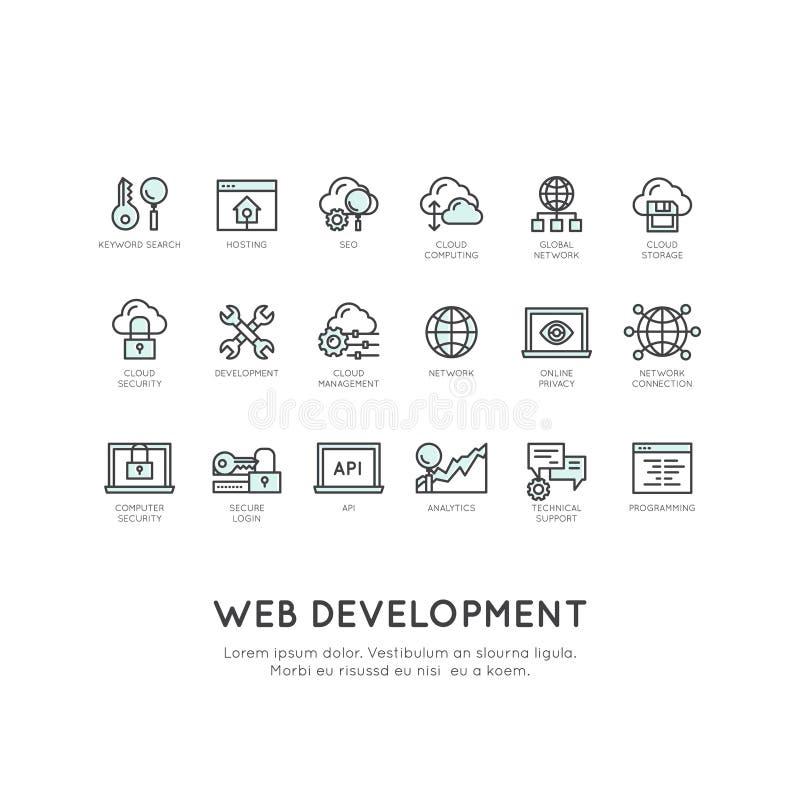 Sieć rozwój, programowanie, usługi sieciowe, ochrona, Online zastosowanie, Obłoczny Obliczać ilustracja wektor