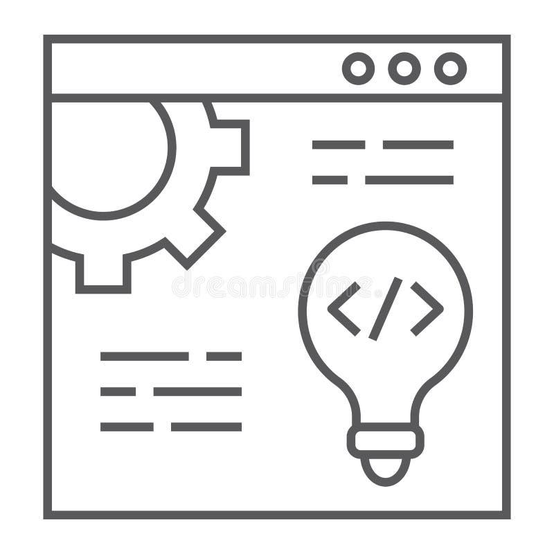 Sieć rozwoju cienka kreskowa ikona, strona internetowa i programowanie, wyszukiwarka znak, wektorowe grafika, liniowy wzór ilustracja wektor