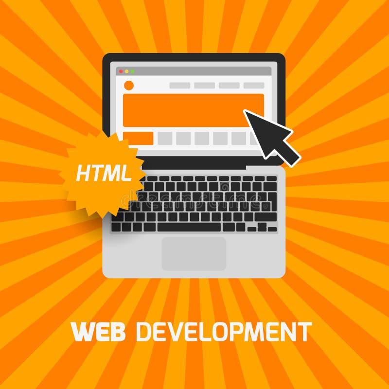 Sieć rozwoju laptopu ikona Tworzy stronę internetową ilustracja wektor