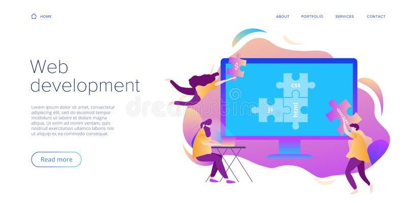 Sieć rozwoju pojęcie w płaskim projekcie Przedsiębiorcy budowlani lub projektanci pracuje przy interneta app lub online usługą Kr ilustracji