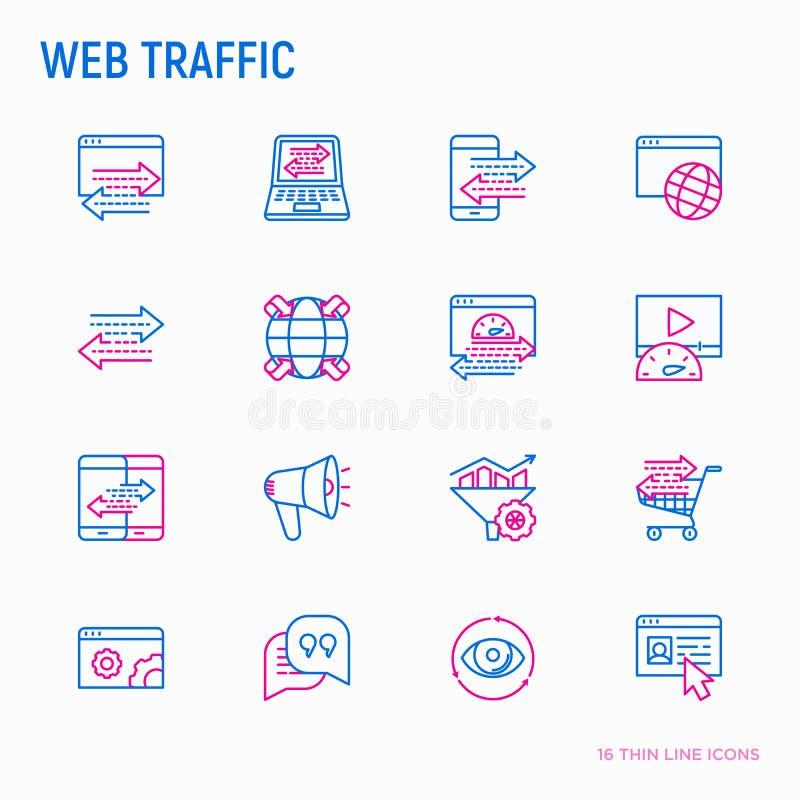 Sieć ruchu drogowego cienkie kreskowe ikony ustawiać ilustracja wektor