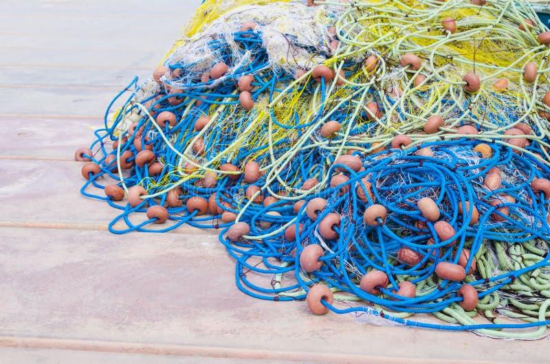 Sieć rybacka szczegóły na łodzi fotografia royalty free