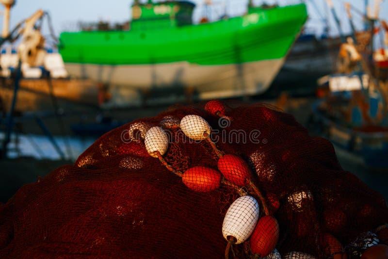 Sieć rybacka w schronieniu Essaouira, Maroko Afryka obraz stock