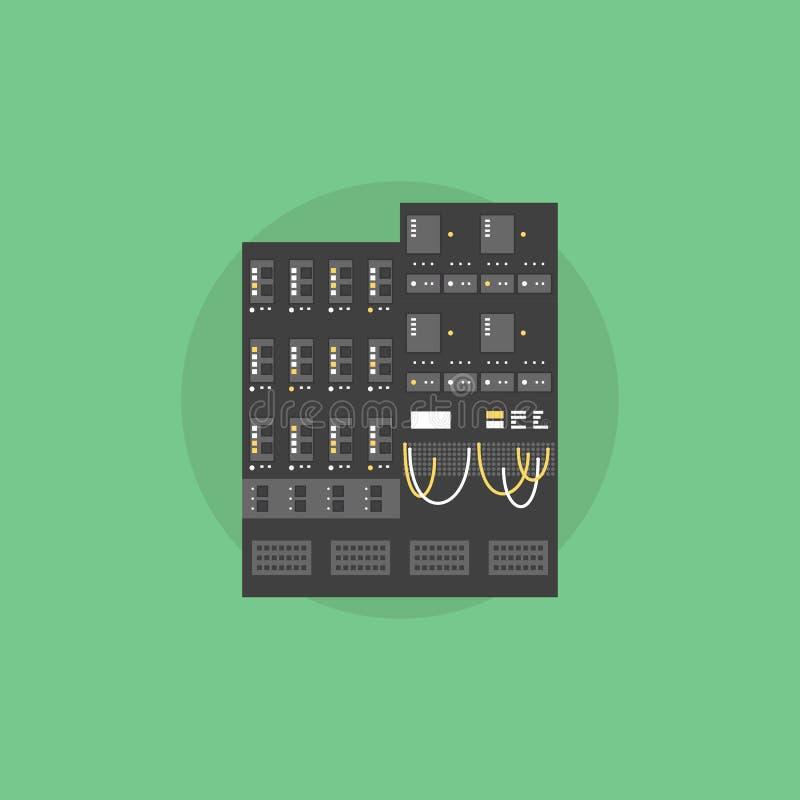 Sieć serweru ikony płaska ilustracja ilustracji