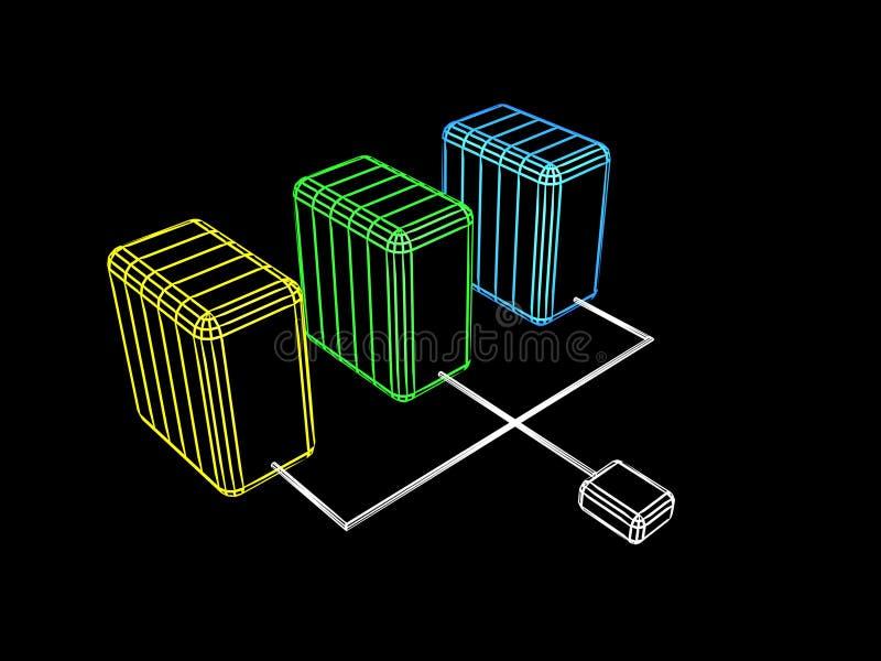 sieć serwery ilustracja wektor