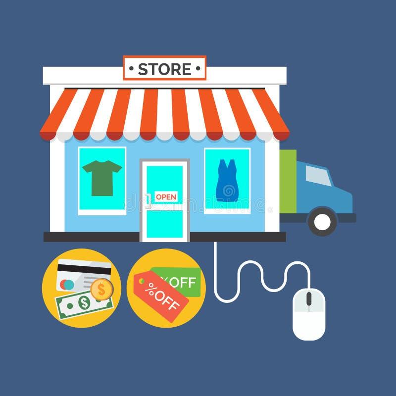 Sieć sklep, Online sklepowy pojęcie Płaski projekt elegancki royalty ilustracja