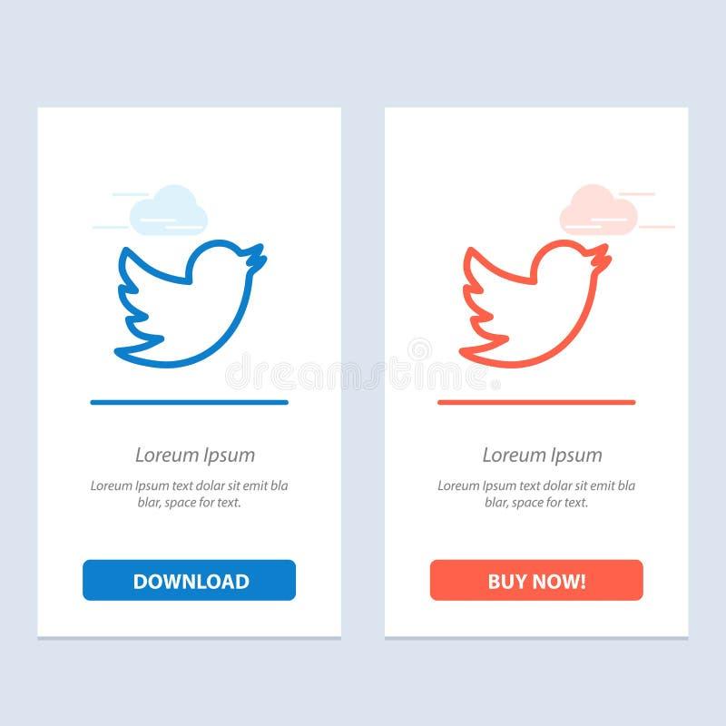 Sieć, socjalny, Świergoli, Kupuje Teraz sieci Widget karty szablon i błękit i Czerwonego ściąganie royalty ilustracja
