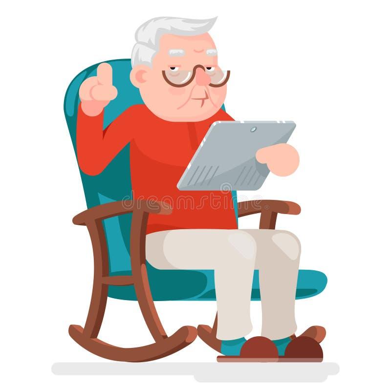 Sieć Surfuje Online zakupy starego człowieka charakteru Siedzi Dorosłą ikony kreskówki projekta wektoru ilustrację royalty ilustracja
