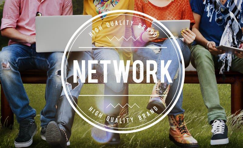 Sieć systemu networking Online Podłączeniowy pojęcie obrazy royalty free