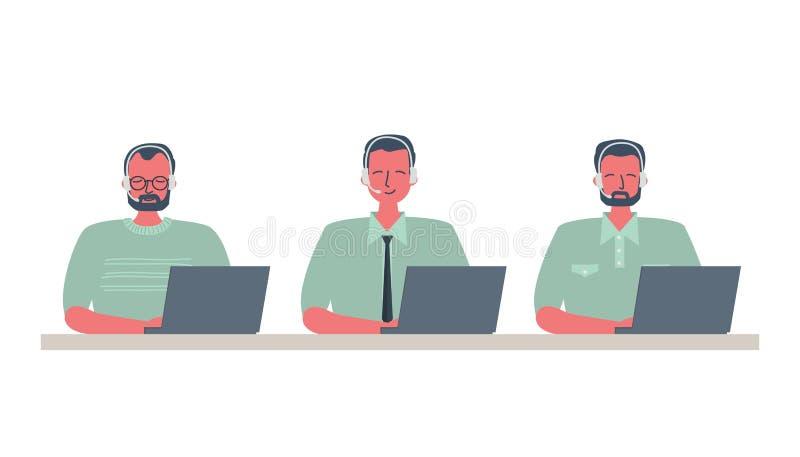 Sieć sztandar centrum telefoniczne pracownicy Młodzi człowiecy siedzi przy stołem na białym tle w hełmofonach podaniowi ikon inte ilustracja wektor
