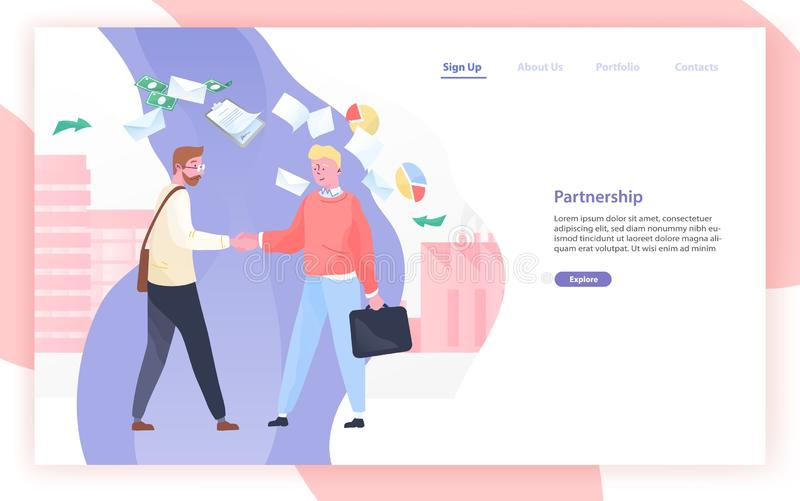 Sieć sztandar lub strona internetowa szablon z parą partnery biznesowi lub biznesmeni trząść ręki i miejsce dla teksta royalty ilustracja