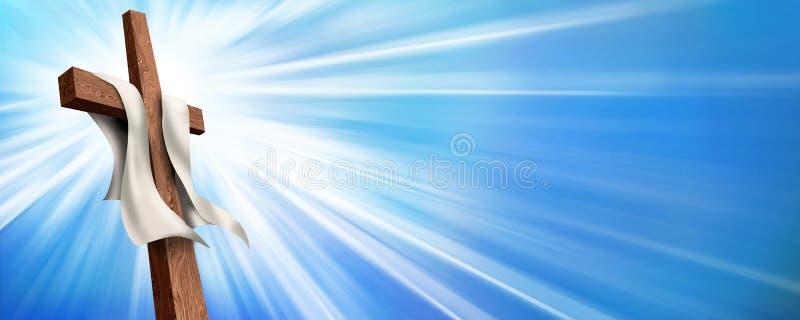 Sieć sztandar wskrzeszanie krzyżowanie Chrześcijanina krzyż iluminujący na błękitnym tle Życie po śmierci ilustracja wektor