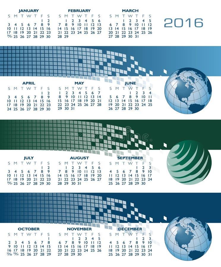 2016 sieć sztandaru kalendarz ilustracja wektor