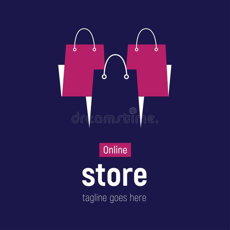Sieć sztandaru Online sklep z torba na zakupy Pojęcie online zakupy royalty ilustracja
