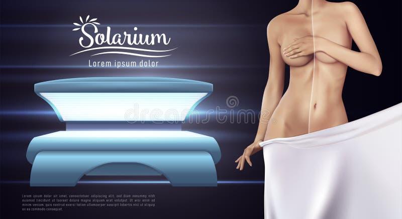 Sieć sztandaru projekt solarium Pojęcie wektorowa ilustracja skóry opieka royalty ilustracja