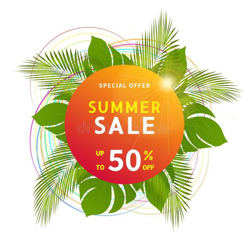 Sieć sztandaru szablon dla lato sprzedaży z specjalnego rabata ofertą daleko do 50 procentów ilustracji
