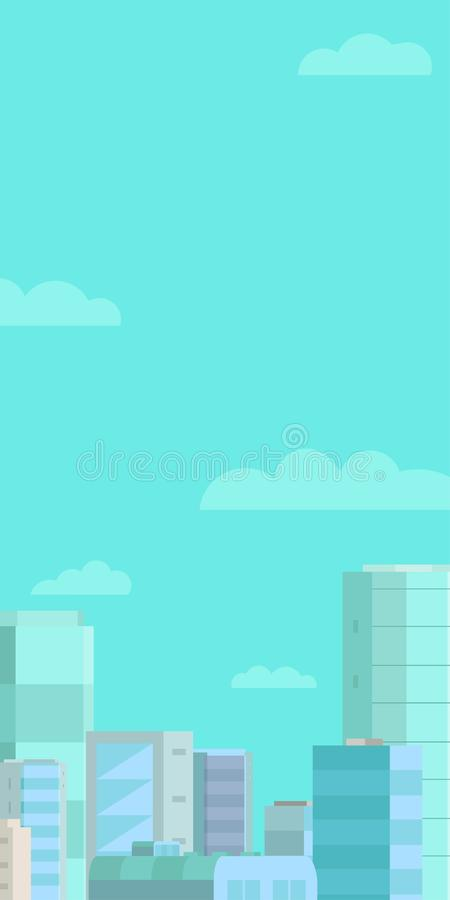 Sieć sztandaru tło Panoramy niebieskie niebo i miasto Pionowo sztandaru sieci standardowy rozmiar miejsce tekst ilustracja wektor