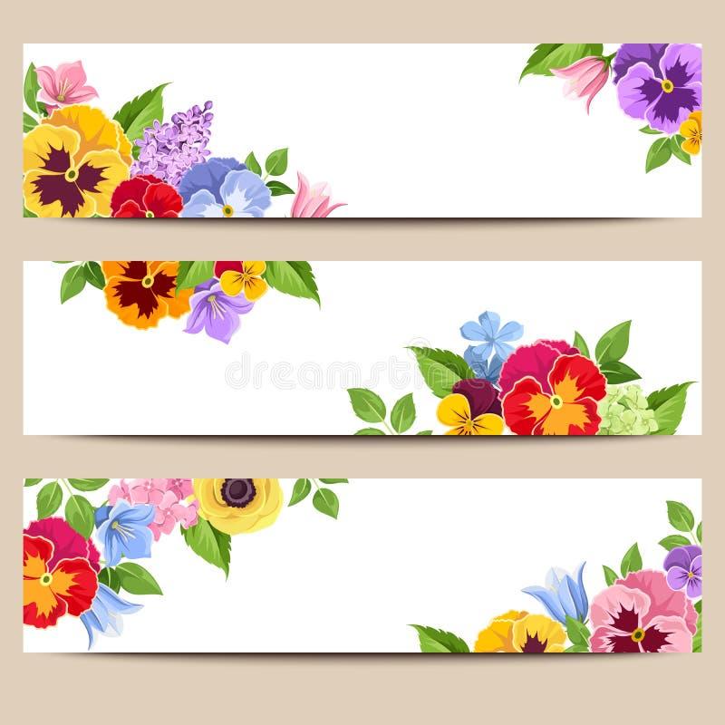Sieć sztandary z kolorowymi kwiatami Wektor EPS-10 ilustracji