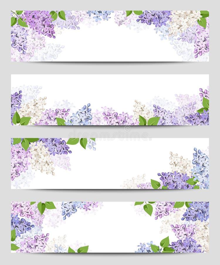 Sieć sztandary z lilymi kwiatami Wektor EPS-10 ilustracja wektor