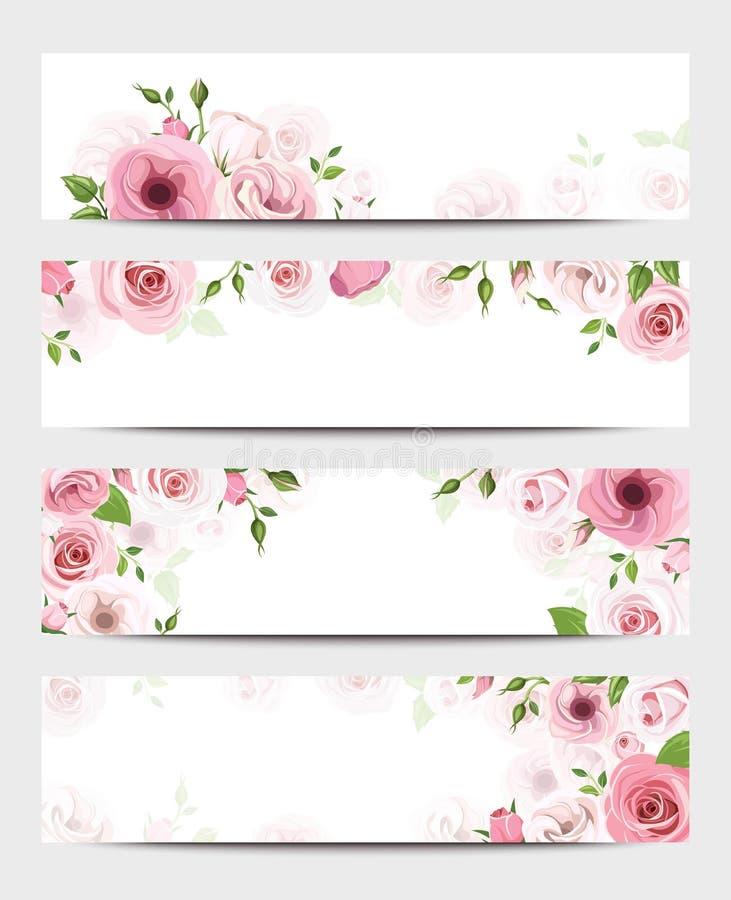 Sieć sztandary z różowymi różami Wektor EPS-10 ilustracja wektor