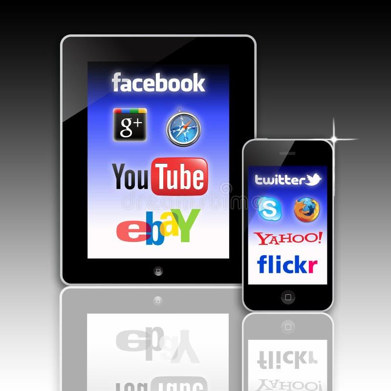 sieć teletechniczny mobilny socjalny ilustracja wektor