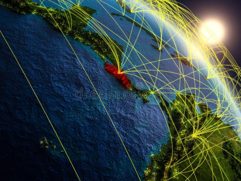 Sieć wokoło Costa Rica od przestrzeni ilustracji