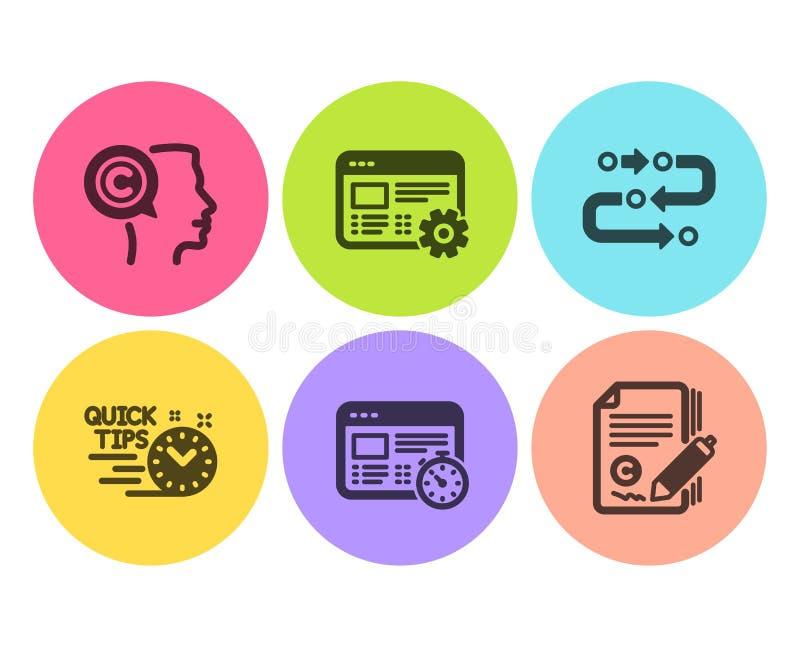 Sieć zegar, Szybkie porady i Pisarskie ikony ustawiający, Metodologia, sieci położenia i Copywriting znaki, wektor royalty ilustracja