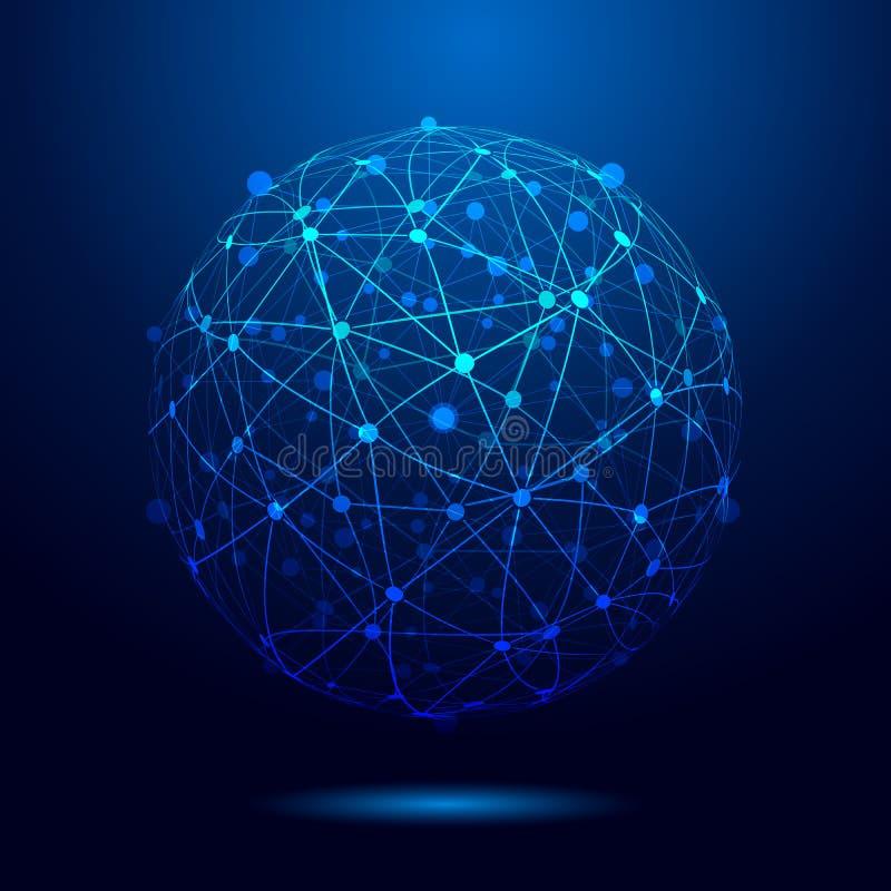 Sieć związek, kula ziemska związek, techniki tło dla zapasu - royalty ilustracja