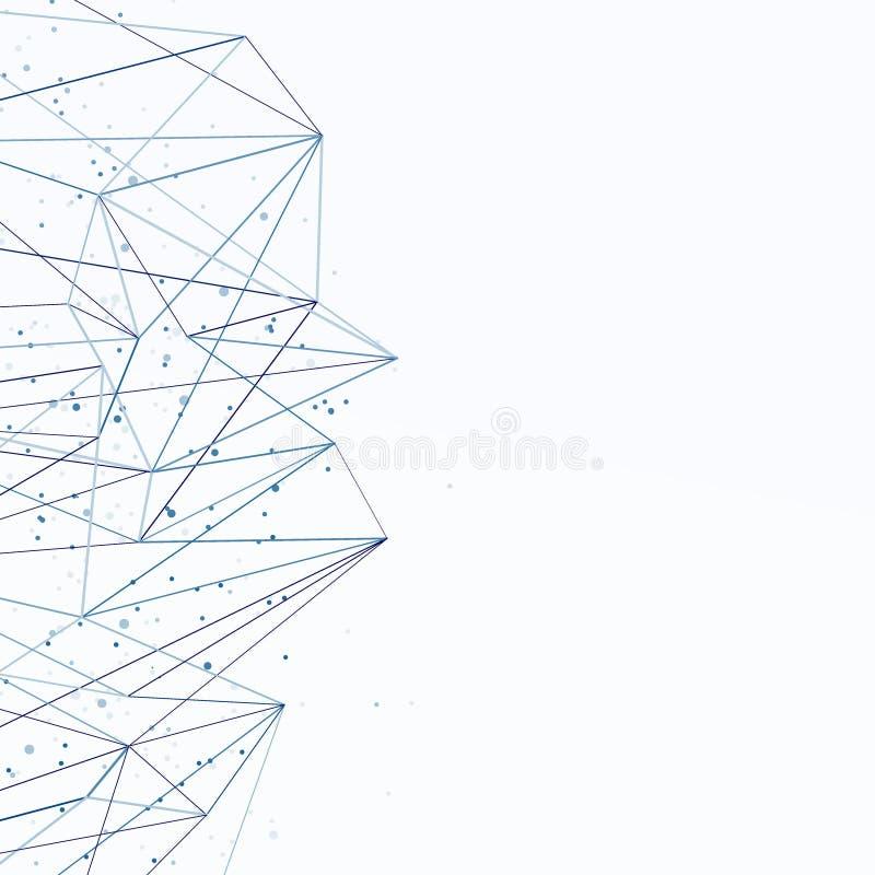 Sieć związku abstrakcjonistyczny błękitny konceptualny tło Communic ilustracji