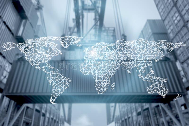 Sieć związku partnerstwo i światowa mapa z portem zdjęcia stock