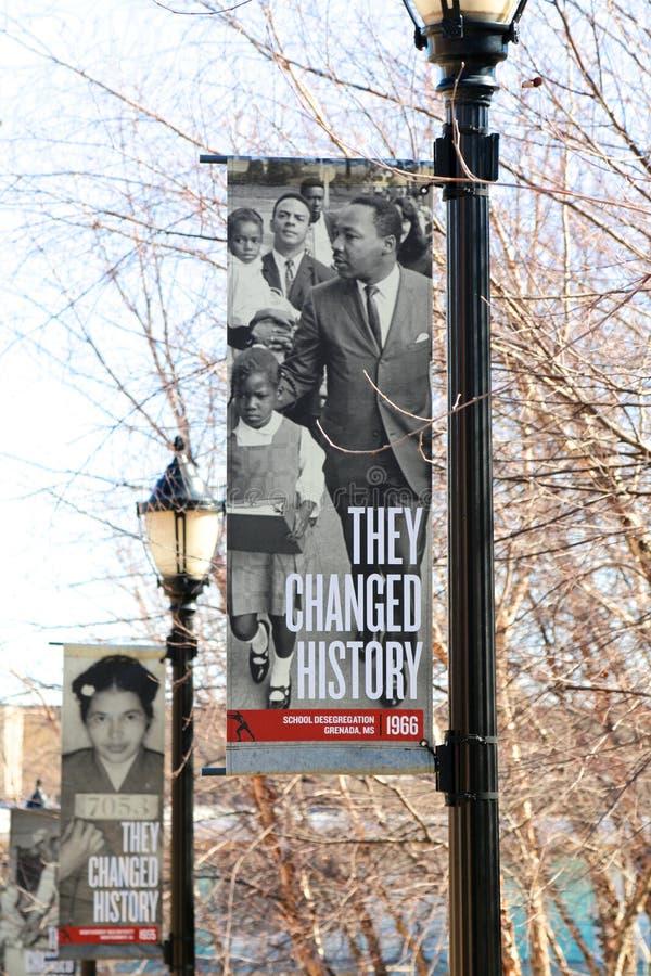 Sie änderten Geschichtszeichen bei Lorraine Motel, Memphis Tennessee lizenzfreie stockbilder