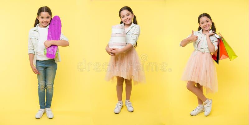 Sie hat Los Hobbys Mädchenkind wie geben Freizeitunterschiedliche arten als Reitpennybrett oder -einkaufen aus Kindermädchengesch lizenzfreie stockfotos