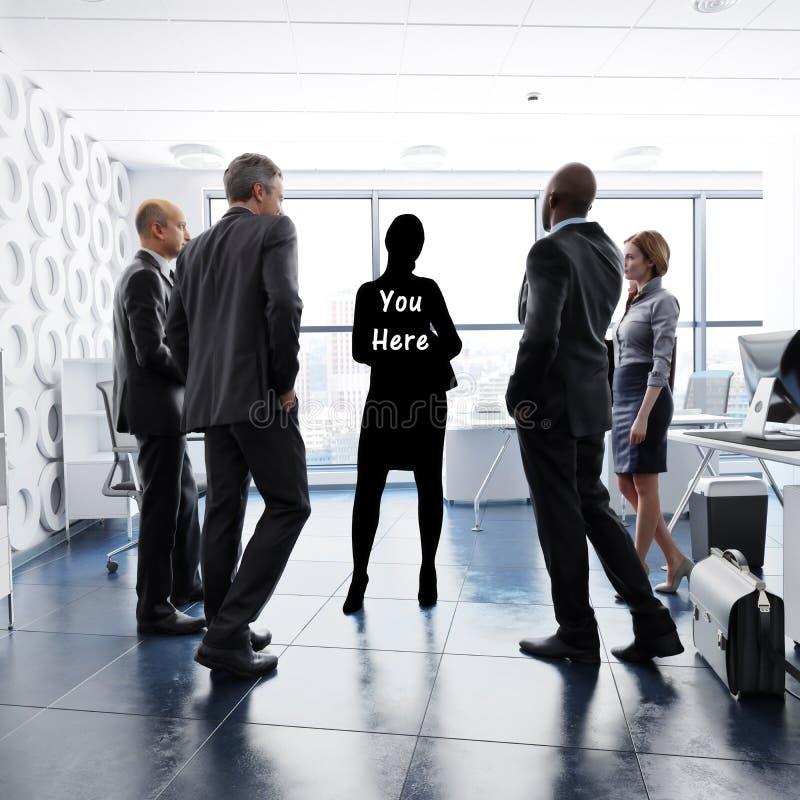Sie hier Konzept Finden Ihrer Geschäftsidentität durch Führung, Teamwork, Ehrgeiz ect stock abbildung