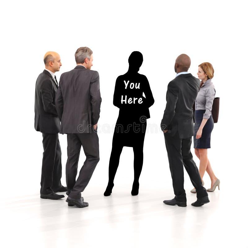 Sie hier Konzept Finden Ihrer Geschäftsidentität durch Führung, Teamwork, Ehrgeiz ect Auf einem Weiß lokalisierter Hintergrund stock abbildung