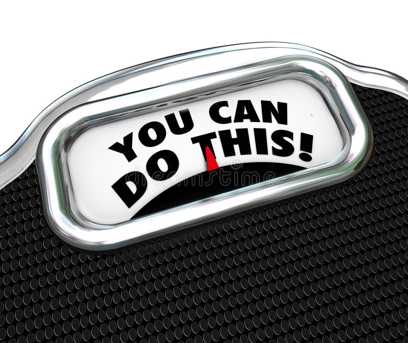 Sie können dieses Wörter tun, Skala-Diät-, dieübung Gewicht verlieren stock abbildung