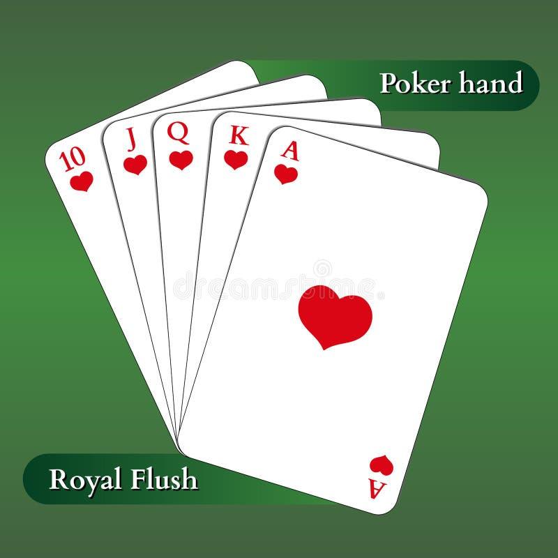 Sie können sehr einfach die Stellung der sichtbaren Karte und auch die Farbe zum rückseitigen Gesicht ändern Poker-Hand Königlich vektor abbildung