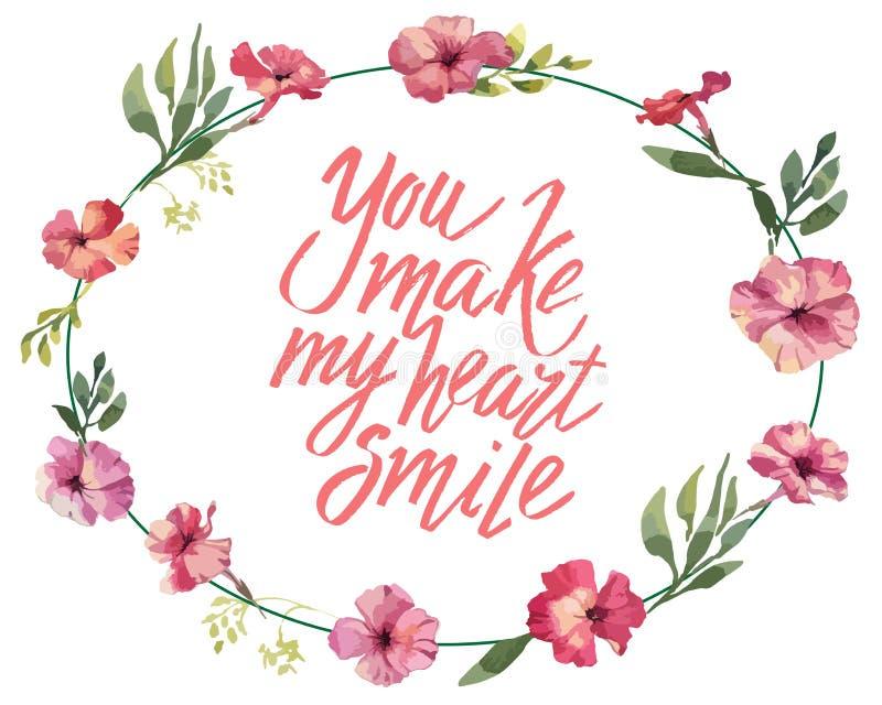 Sie machen mein Herzlächeln, Hand schriftliche Beschriftung Romantischer Liebeskalligraphiekarten-Aufschrift Valentinstag stock abbildung